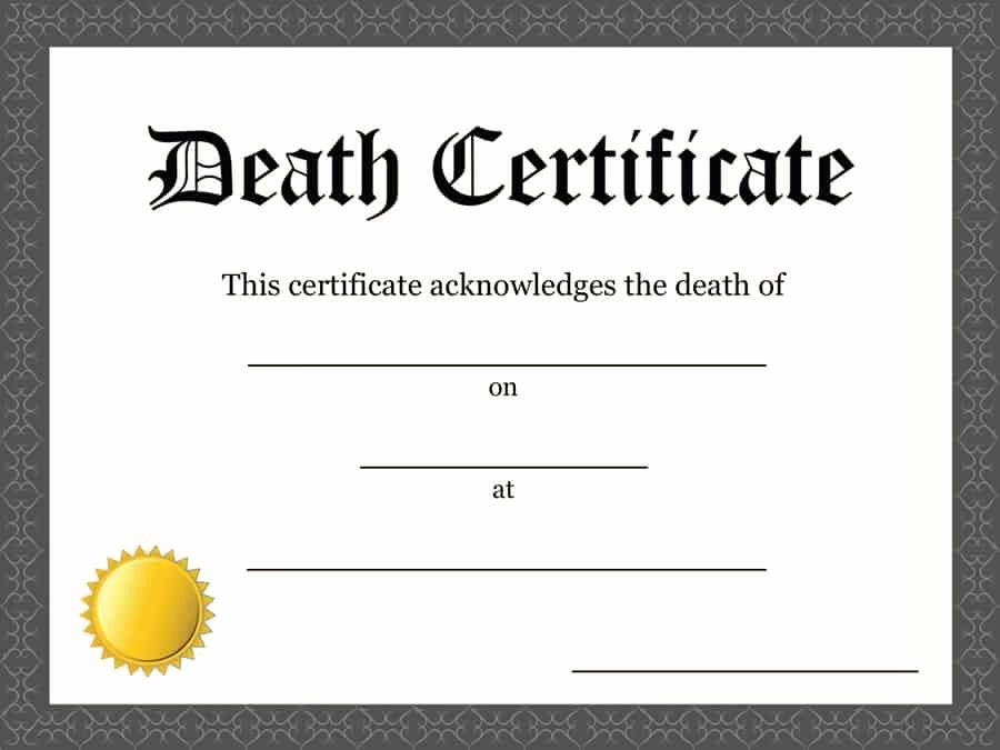 Certificate Of Death Template Inspirational 37 Blank Death Certificate Templates [ Free]