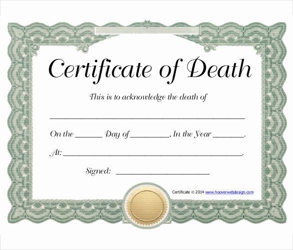 Certificate Of Death Template New 11 Sample Death Certificate Templates Pdf Doc