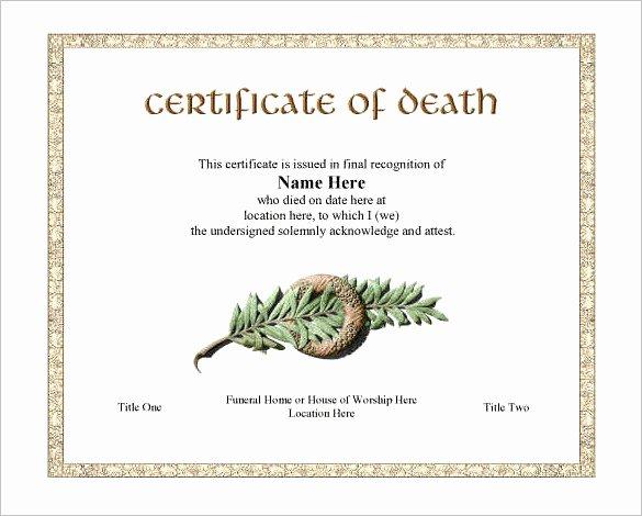 Certificate Of Death Template New 7 Death Certificate Templates Psd Ai Illustrator Word