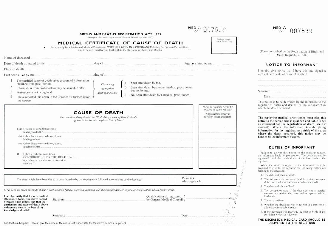 Certificate Of Death Template New Death Certificate Uk