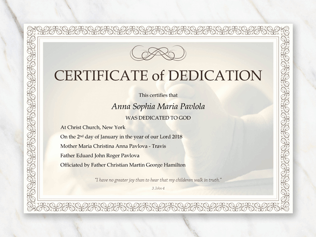 Certificate Of Dedication Template Awesome Baby Dedication Certificate Template for Word [free Printable]