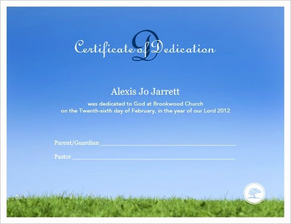 Certificate Of Dedication Template Best Of Baby Dedication Certificate Template – 19 Free Word Pdf