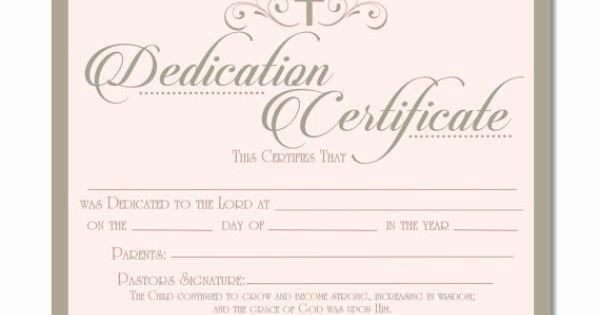 Certificate Of Dedication Template Elegant Printable Baby Dedication Certificate Digital by