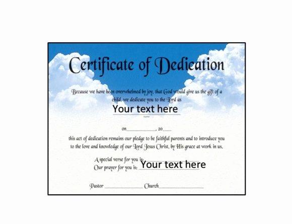 Certificate Of Dedication Template Inspirational 50 Free Baby Dedication Certificate Templates Printable