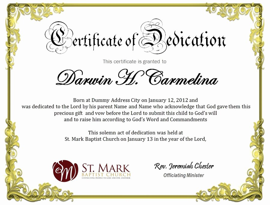 Certificate Of Dedication Template Inspirational Baby Dedication Certificate