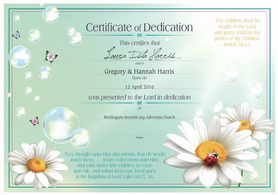 Certificate Of Dedication Template Inspirational Dedication Certificates – Stanborough Press