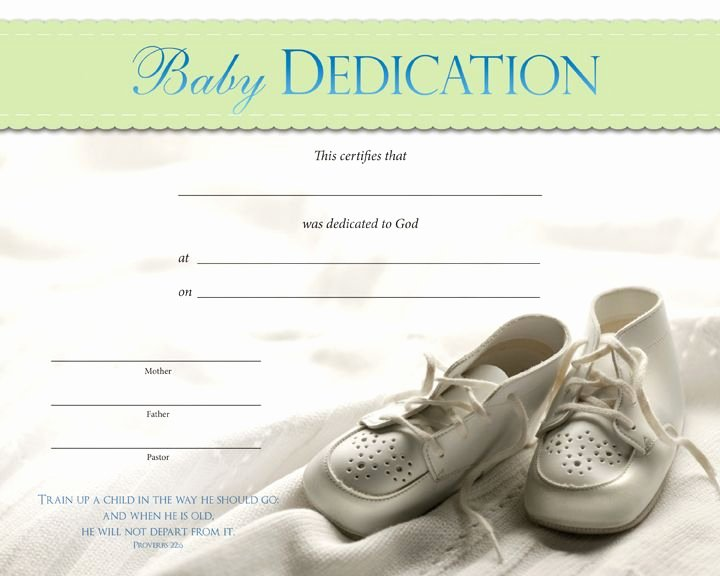 Certificate Of Dedication Template Lovely Baby Dedication Certificates