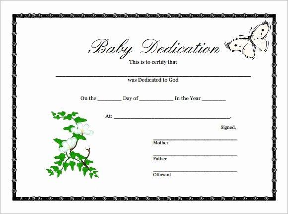 Certificate Of Dedication Template New 10 Sample Printable Baby Dedication Certificate Templates