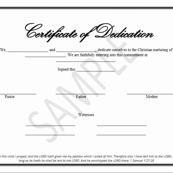 Certificate Of Dedication Template Unique Printable Child Dedication Certificate Templates the