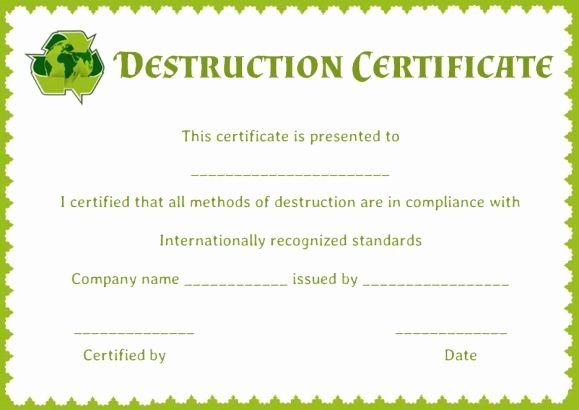 Certificate Of Destruction Template Fresh Certificate Of Data Destruction Template