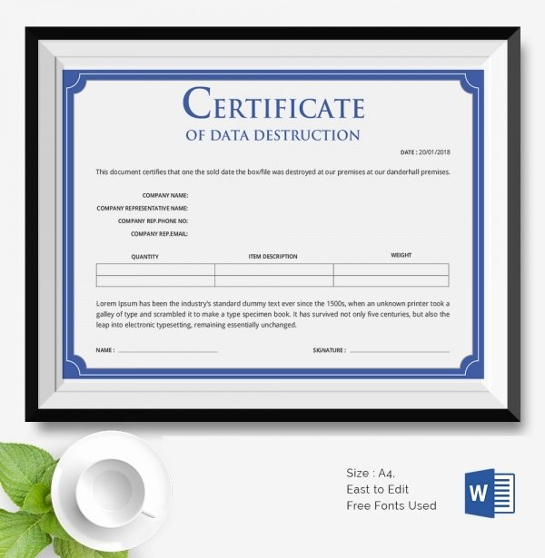 Certificate Of Destruction Template Inspirational 25 Certificate Templates