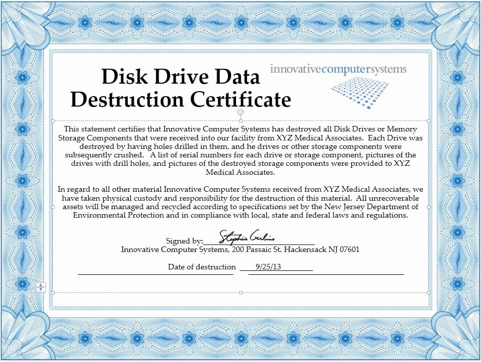 Certificate Of Destruction Template Lovely Innovative Puter Systems