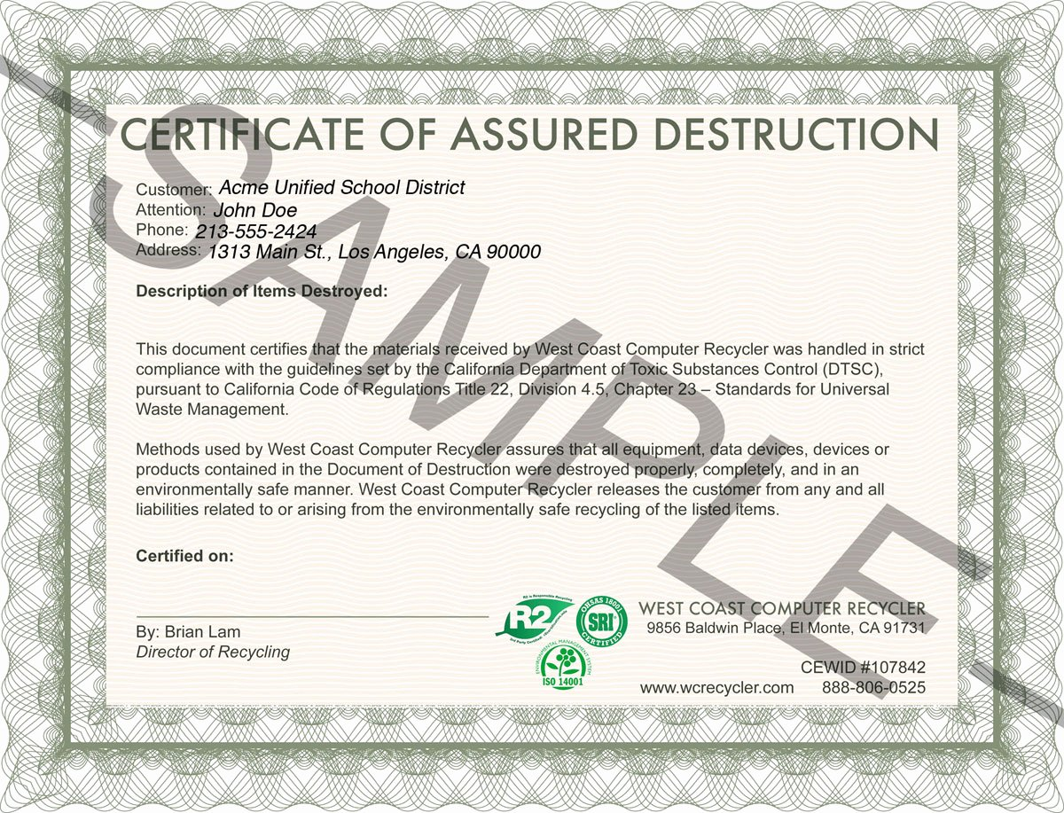Certificate Of Destruction Template Unique Certifications Insurance