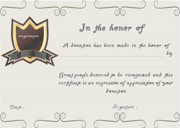 Certificate Of Donation Template Beautiful Donation In You Honor Certificate Template