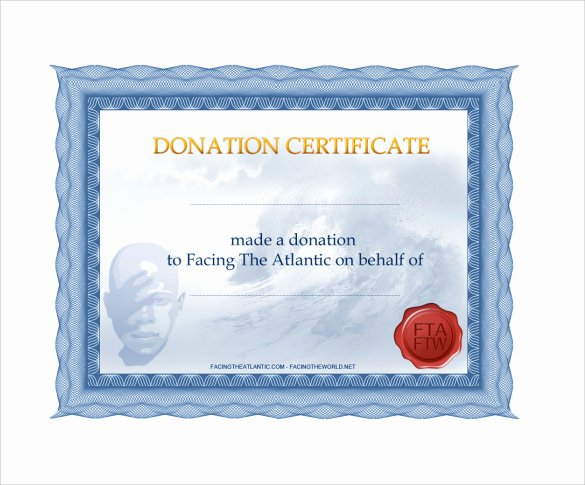 Certificate Of Donation Template Beautiful Sample Donation Certificate Template 7 Documents In Pdf
