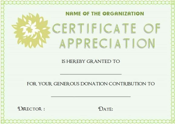 Certificate Of Donation Template Fresh Certificate Appreciation for Donation Template