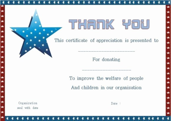 Certificate Of Donation Template Fresh Thank You for Donation Certificate Template