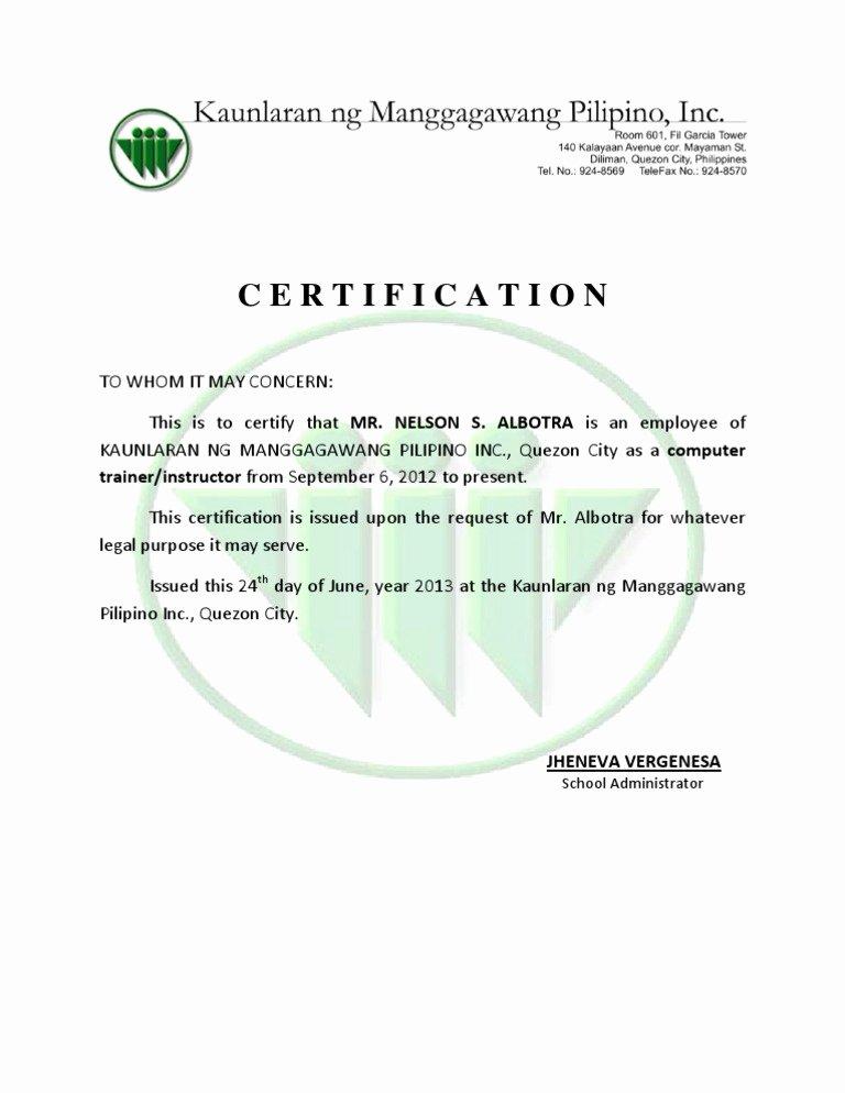 Certificate Of Employment Doc Best Of Employment Certificate