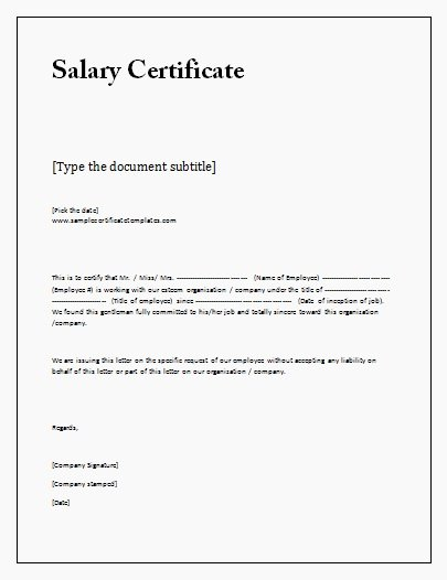 Certificate Of Employment Doc Best Of Salary Certificate Template