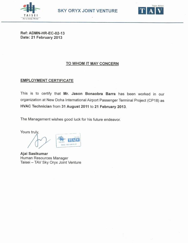 Certificate Of Employment Doc Best Of sojv Certificate Of Employment