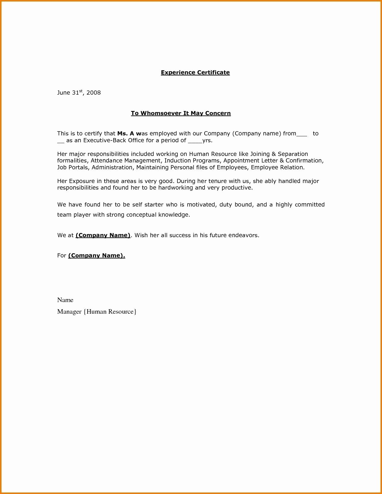 Certificate Of Employment Doc Elegant Relieving Letter format Doc Fresh Certificate