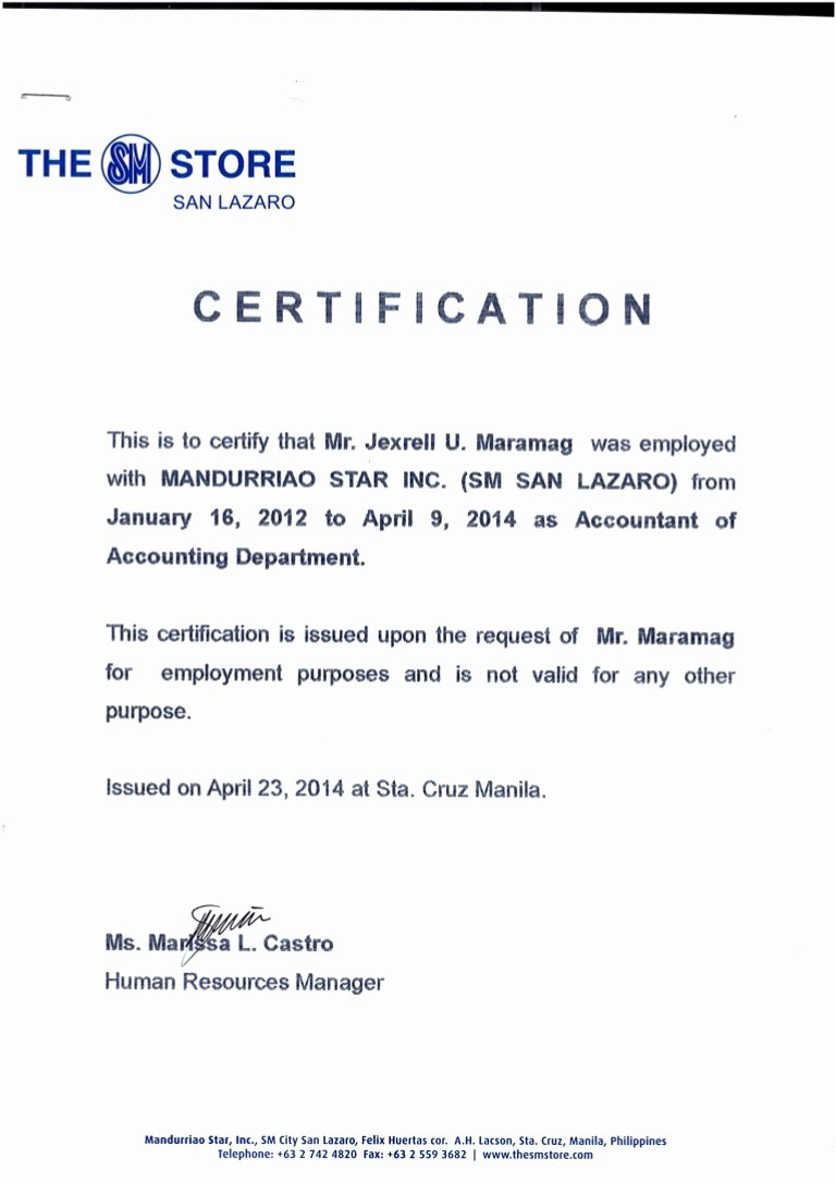 Certificate Of Employment Doc Fresh Certificate Of Employment Msi Sm Dep Store