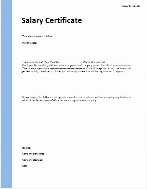 Certificate Of Employment Doc Lovely Salary Certificate Template