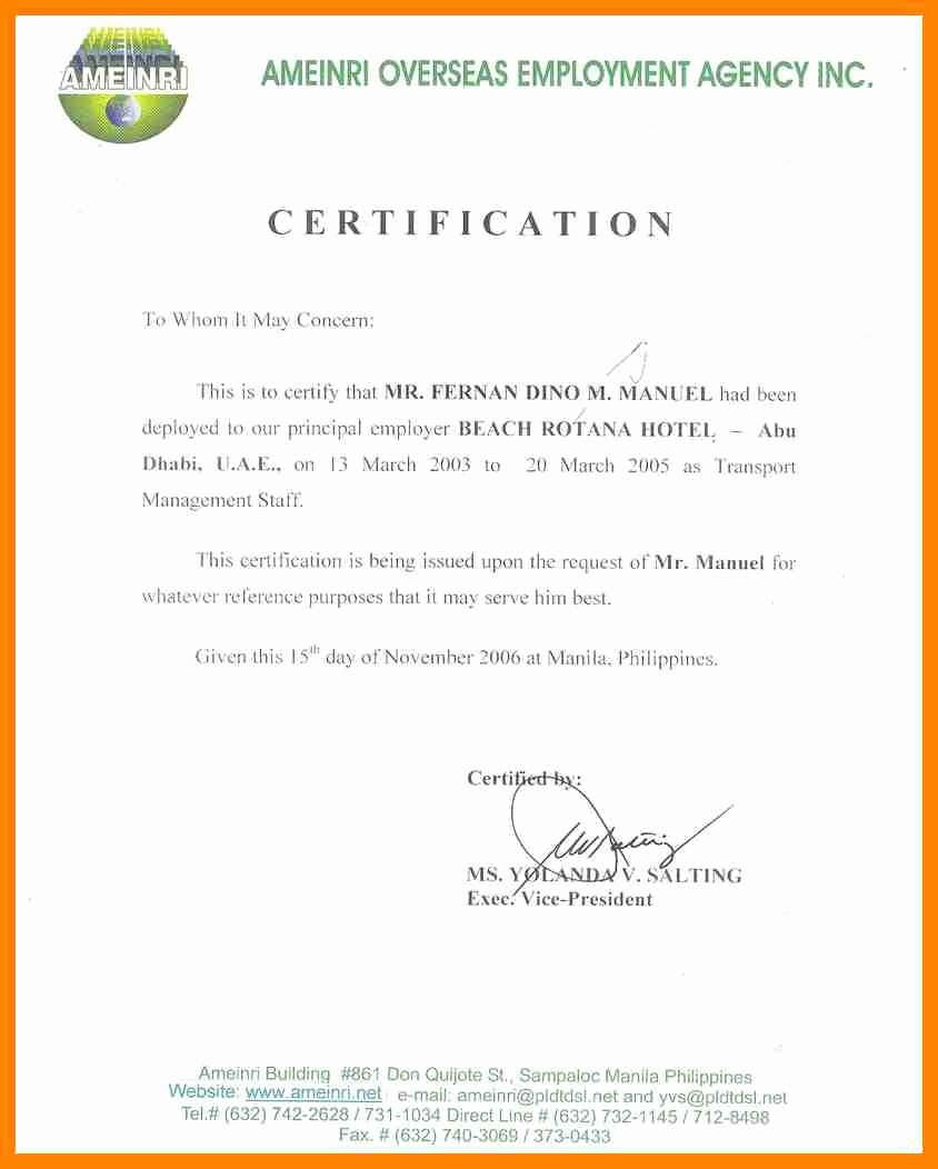 Certificate Of Employment Doc Luxury Certificate Employment Sample with Salary – Printable