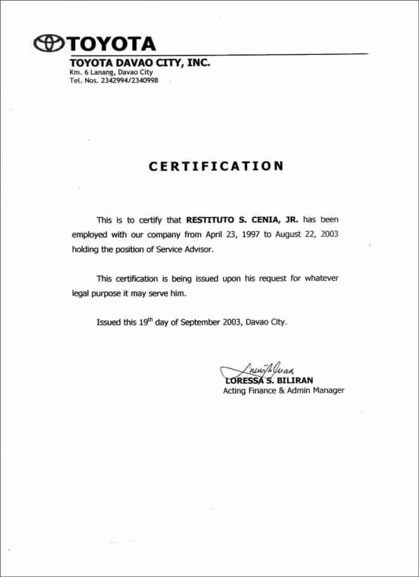 Certificate Of Employment Doc New Certificate Employment Samples Word Excel Samples