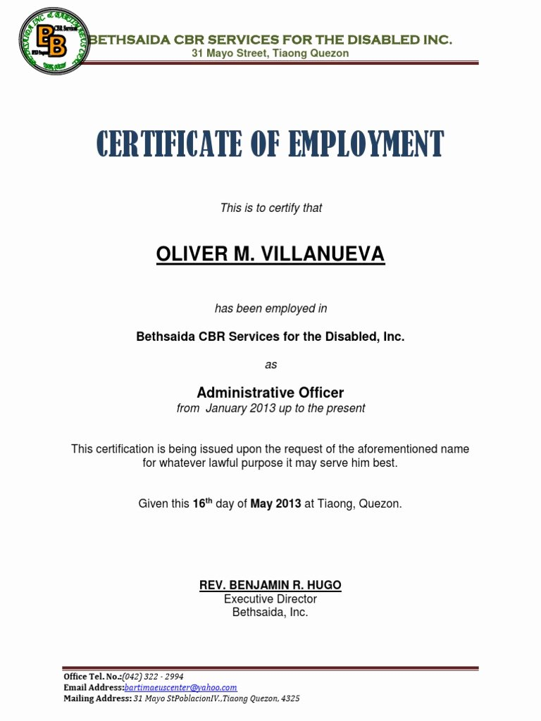 Certificate Of Employment Doc New Certificate Of Employment Samplecx