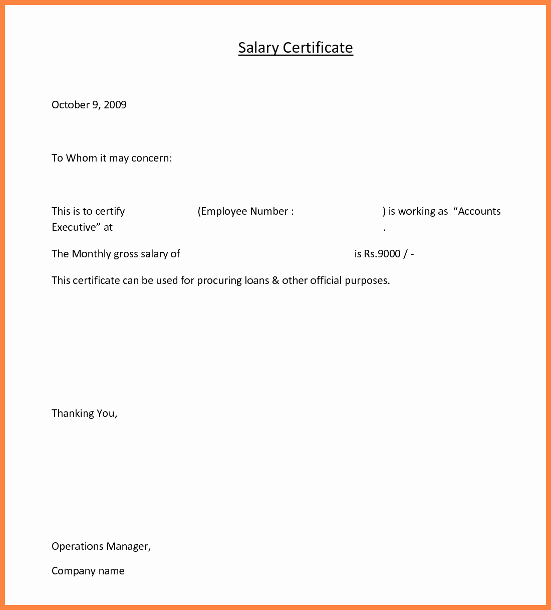 Certificate Of Employment Doc Unique 4 Salary Certificate Doc