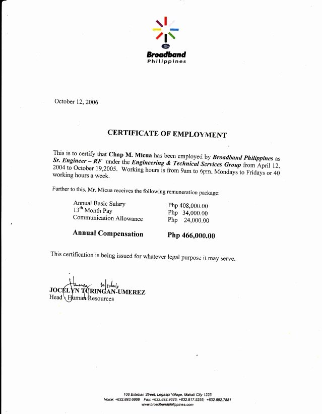 Certificate Of Employment Template Beautiful 06 Broadband Philippines Coe3