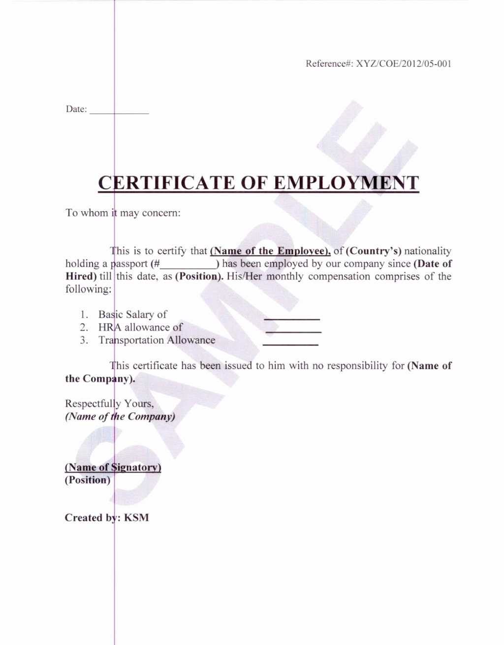 formal sample of certificate of employment with white paper background and editable blank date and name space
