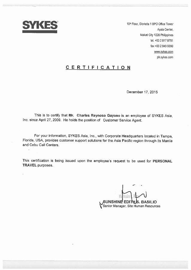 Certificate Of Employment Template Elegant Sykes Work Certification 2015