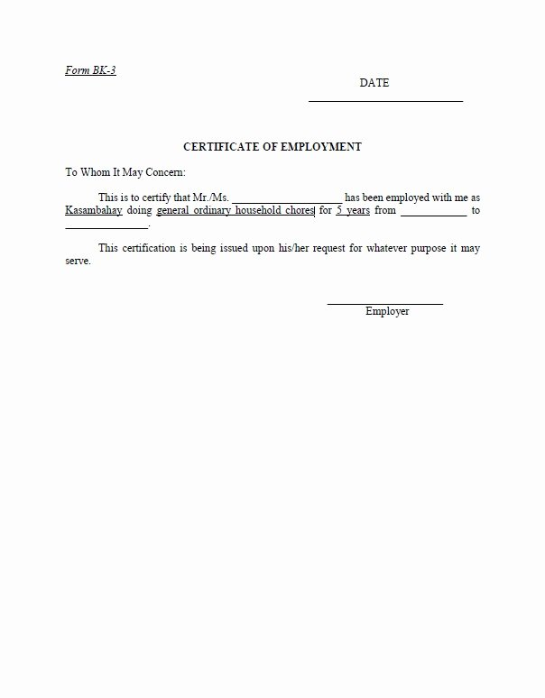 Certificate Of Employment Template Fresh Free Employment Certificate Template