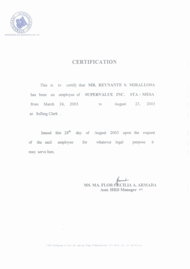 Certificate Of Employment Template Luxury Pin On Diy Denim Bags