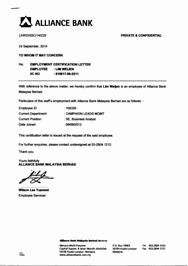 Certificate Of Employment Template Luxury Previous Employment Certification Letter