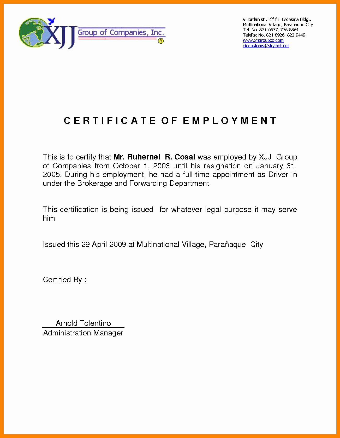Certificate Of Employment Template Unique Certificate Employment Sample