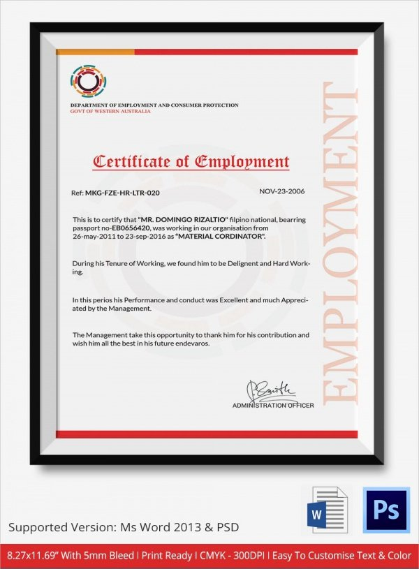 Certificate Of Employment Template Unique Sample Certificate 32 Documents In Word Pdf Psd