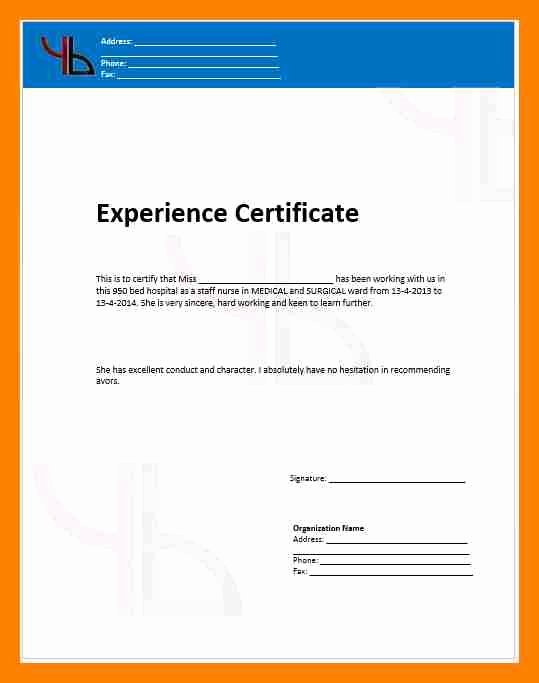 Certificate Of Free Sale Template Lovely 13 Experience Certificate for Sales