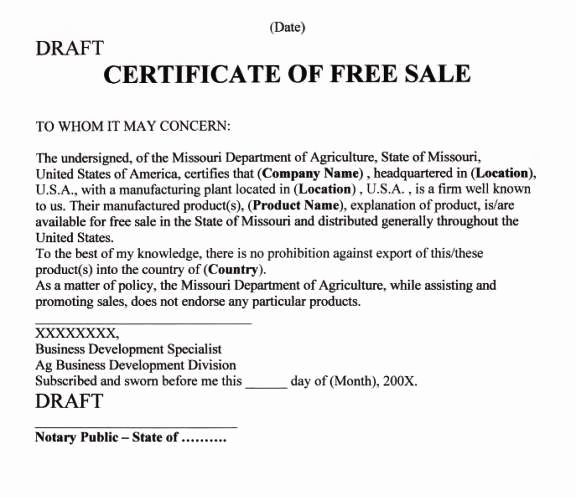 apostille certificate of free sale california