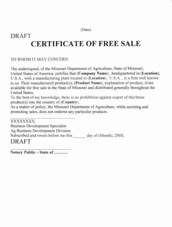 Certificate Of Free Sale Template Luxury Untitled Document [ ]