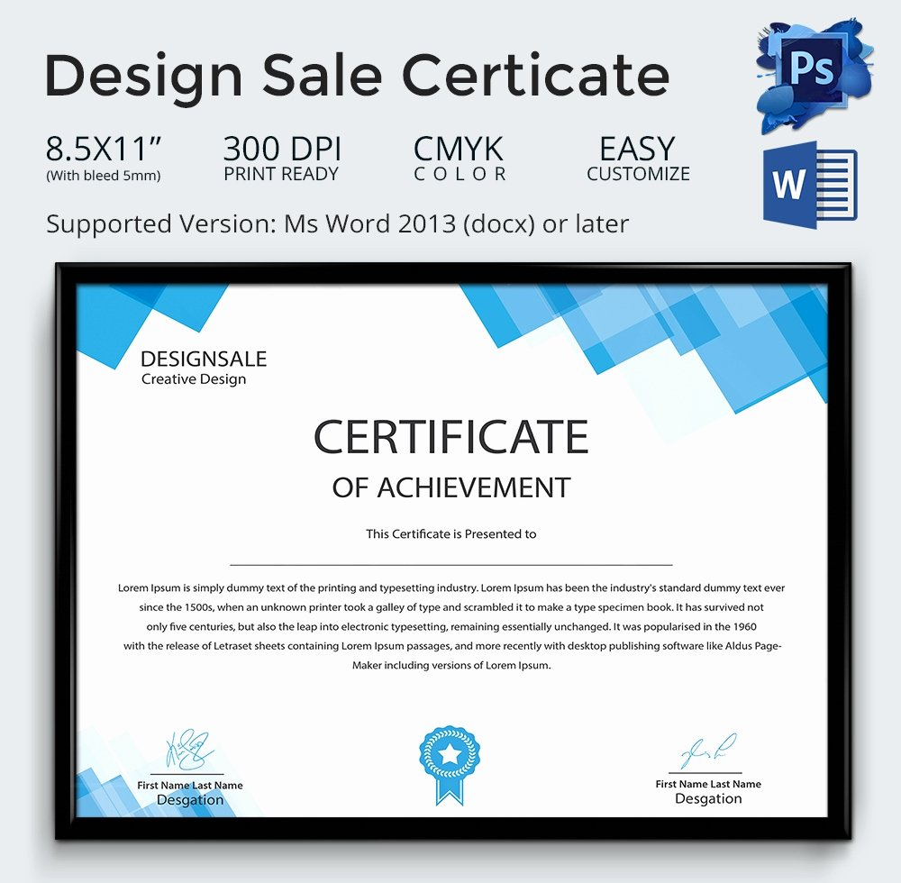 Certificate Of Free Sale Template Unique Achievement Award Template 12 Word Pdf Documents