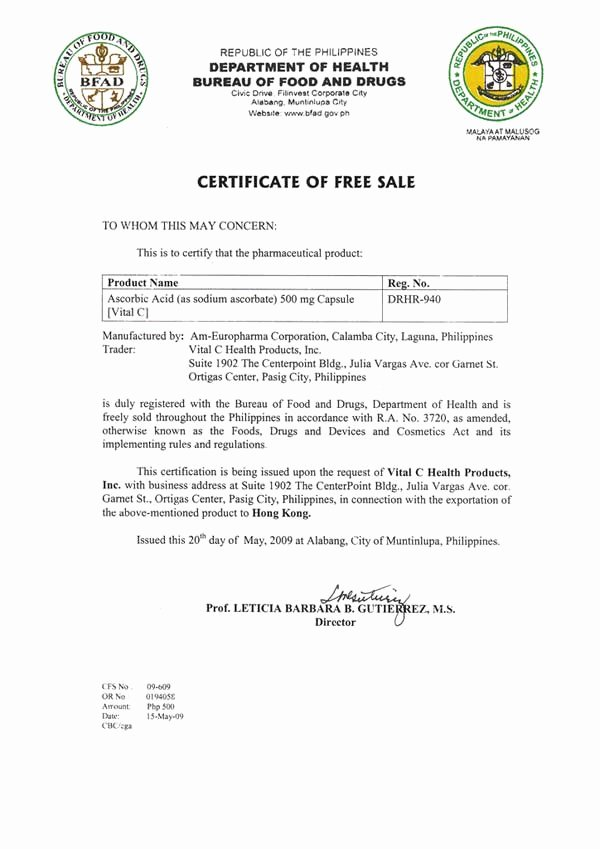 Certificate Of Free Sale Template Unique Vital C Health Products Inc