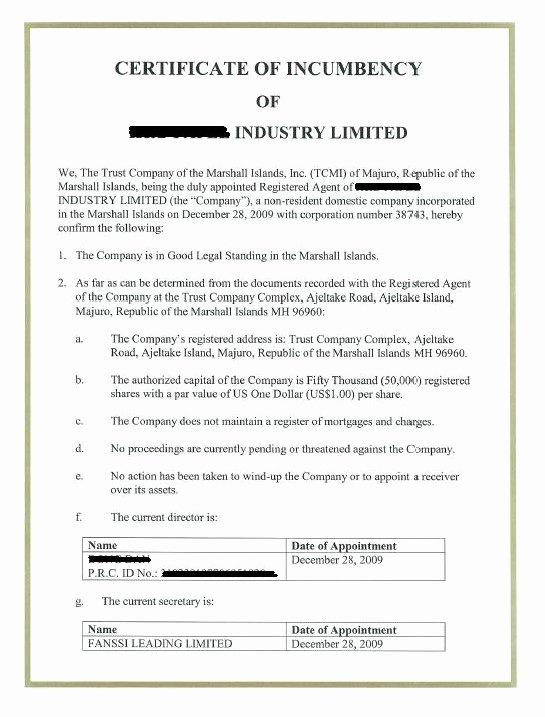 Certificate Of Incorporation Template Word Beautiful Free Printable Certificate Incumbency form Generic