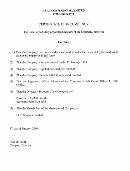 Certificate Of Incorporation Template Word Fresh Printable Sample Certificate Incumbency form