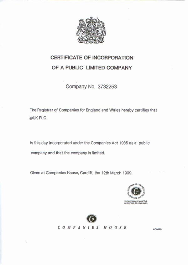 Certificate Of Incorporation Template Word Inspirational Certificates Of Incorporation Of Uk Panies