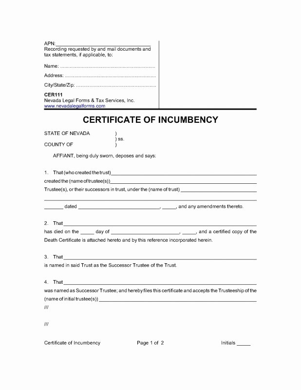 Certificate Of Incumbency Template Lovely Certificate Incumbency Template Free Carlynstudio