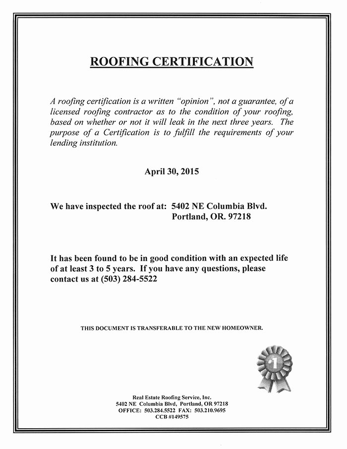 Certificate Of Inspection Template Elegant Roof Certification Sample