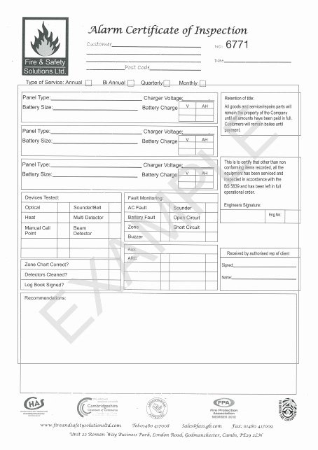 Certificate Of Inspection Template Inspirational Fire Safety Equipment Servicing & Maintenance